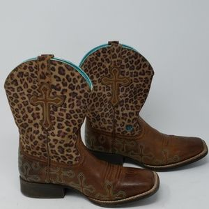 Ariat Crossroads Cross Leopard Print Leather Boots